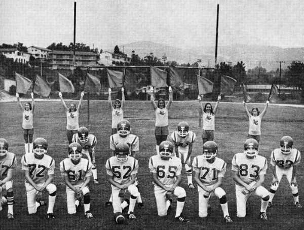 The fifth season for La Canada Junior All-American Football (today known as the La Canada Gladiators) was poised to get underway in the late summer of 1972. Above, some of the 130 boys participating on four teams, pose with cheerleaders on the St. Francis High School field.