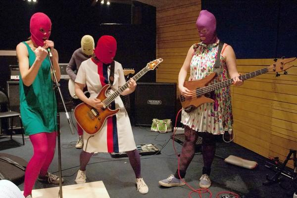 Members Of Russian Punk Group Pussy Riot During A Rehearsal In Moscow In February