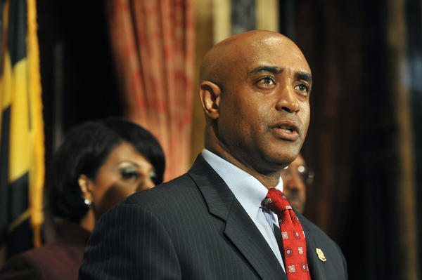 Anthony Batts answers questions after being named Baltimore police commissioner by Mayor Stephanie Rawlings-Blake, left.