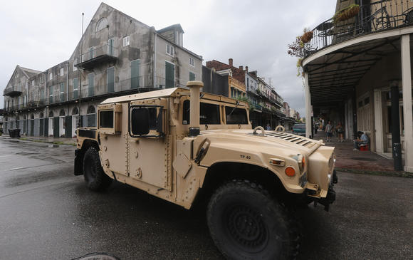 A National Guard Humvee patrols in the French Quarter on August 28, 2012 in New Orleans, Louisiana.