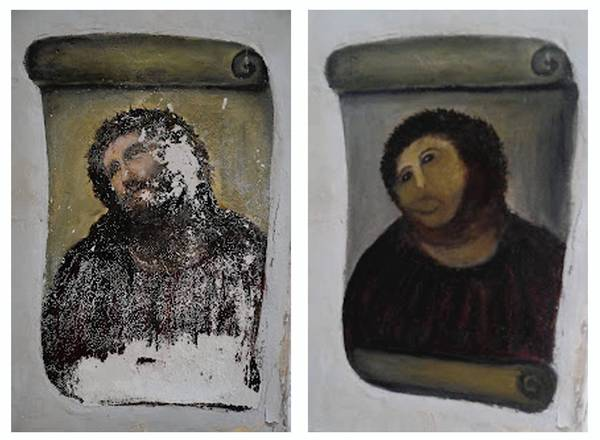 A parishioner at a Catholic church in Spain, upset that parts of a century-old fresco there were flaking, touched up the artwork herself — with the priest's permission, she says.