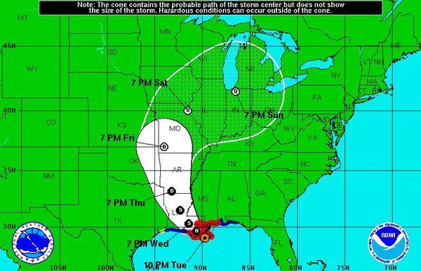 Hurricane Isaac made landfall at 7:45 pm eastern time Tuesday about 75 miles from New Orleans