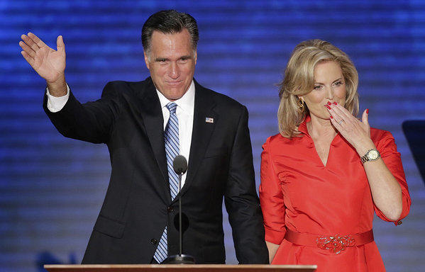 Ann Romney blows a kiss after being greeted by her husband Republican presidential nominee Mitt Romney on stage the Republican National Convention in Tampa, Fla.