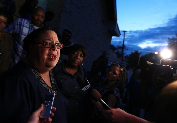 Chicago Teachers Union president Karen Lewis speaks to the media after giving a speech about education at Trinity All Nations church in Chicago.