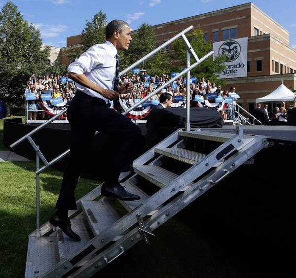 President Obama takes the stage at Colorado State University in Fort Collins.