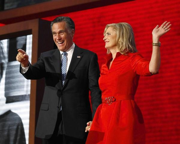 Mitt and Ann Romney after her speech at the Republican National Convention in Tampa, Fla.