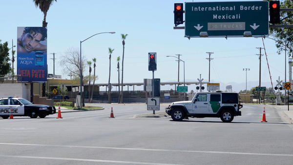 Local and federal authorities restrict southbound traffic Monday on Imperial Avenue into the Calexico Downtown Port of Entry following a shooting in the southbound lanes.