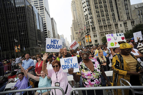 """Average number of Americans who view her show every week.<br> <br> <i>Photo: Thousands of fans watch the taping of """"The Oprah Winfrey Show"""" along Michigan Avenue in Chicago during the kickoff for Winfrey's 24th season Sept. 8, 2009. </i>"""