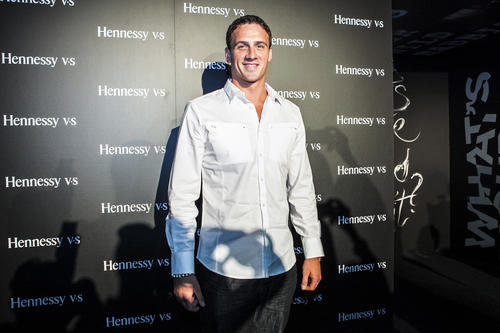 "Ryan Lochte attends a Hennessy party with Mayer Hawthrone, ASAP Rocky and Erkykah Badu at their ""Wild Rabbit"" party at Venue One in Chicago."