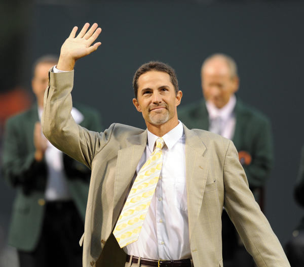 Former Oriole Mike Mussina was inducted into the Orioles Hall of Fame before the game. Baltimore Orioles vs. Toronto Blue Jays MLB baseball at Camden Yards.