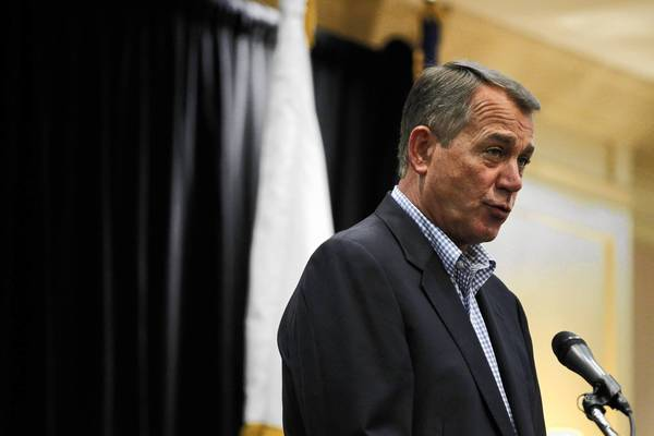 Speaker of the House John Boehner delivers a talk Wednesday at the Sheraton Sand Key Resort in Clearwater Beach, Fla. during the Illinois GOP delegation breakfast before the third day of the Republican National Convention.