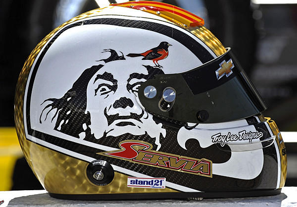 Take a close look at the Baltimore Orioles logo on IndyCar Series driver Oriol Servia's helmet.