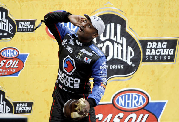 Antron Brown leads the point standings in the NHRA's top-fuel class.