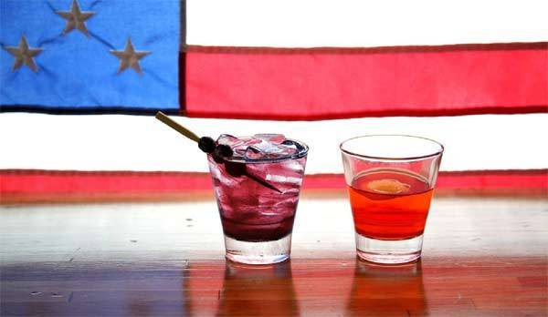 Carolina Blue (L) and Swing State cocktails are pictured.