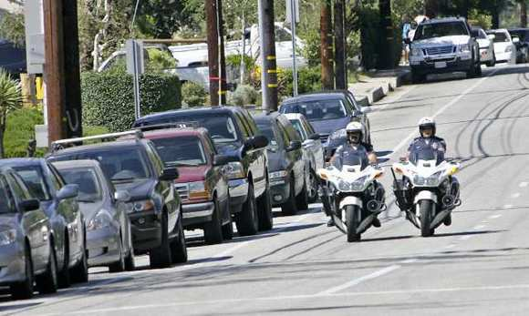 Police conduct traffic enforcement on North Verdugo Road in Glendale.