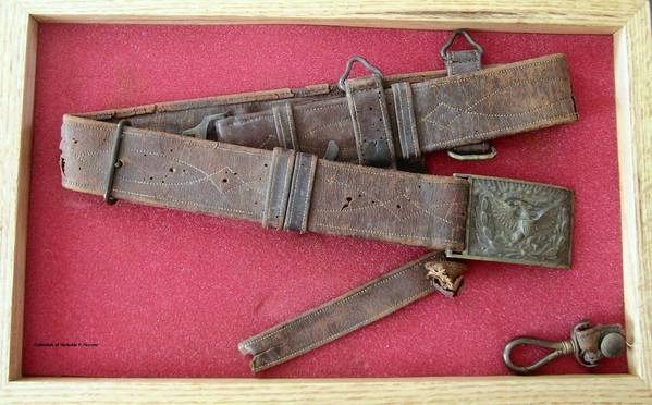The belt and buckle used by George H. Nye during the Battle of Antietam and later, from the collection of Nicholas P. Picerno, is part of a new mini-exhibit at the Laurel Museum.