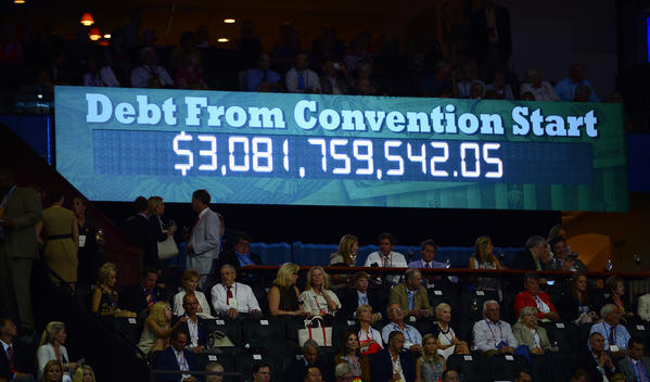 A second national debt clock measures increases in U.S. indebtedness during the four days of the Republican National Convention in Tampa, Fla.