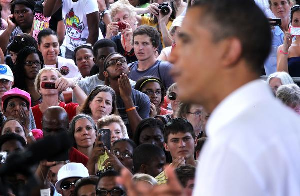 President Obama speaks during a campaign stop at the Charlottesville nTelos Wireless Pavilion in Virginia.