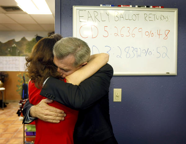 Arizona Rep. David Schweikert hugs wife Joyce in reaction to early election results from his campaign headquarters in Phoenix.
