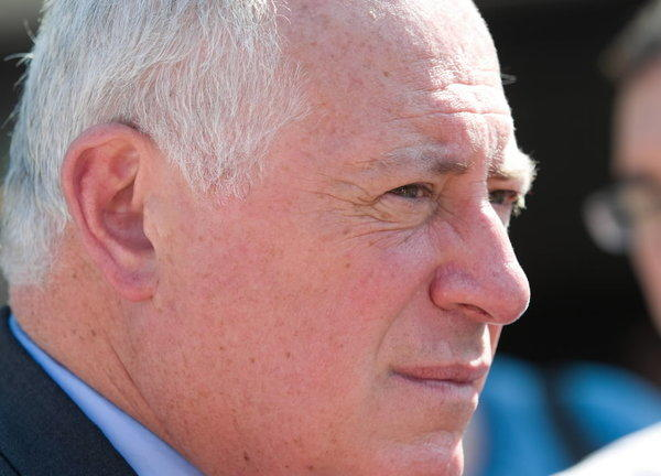 Gov. Pat Quinn, seen here Tuesday in Oak Park, saw the state's credit rating downgraded Wednesday.