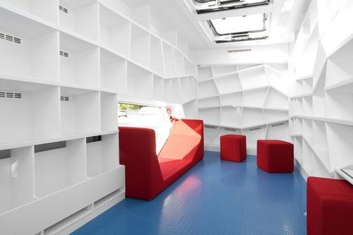 The Robi bookmobile, not yet loaded with its cargo, was designed for the library in Heilbrunn, Germany.