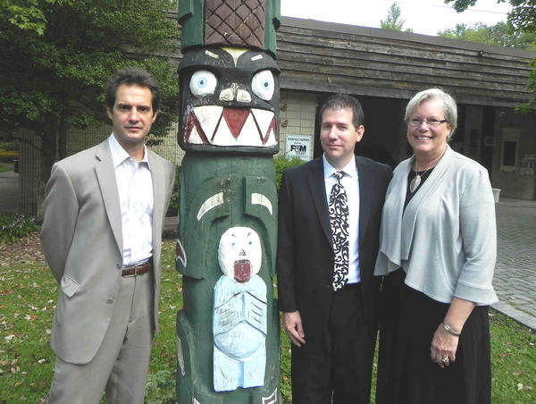 Gathered outside the Totem Pole Playhouse in Fayetteville, Pa., Wednesday are, from left, Artistic Director Ray Ficca, Board of Directors member Nathan Rotz and board President Dana Witt.