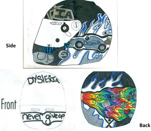 The winning design from 14-year-old Janelle Sowders, of Harrogate, Tenn., for Justin Wilson's Grand Prix of Baltimore racing helmet, created through a national contest among children and teens between the ages of 5 and 16 with dyslexia.