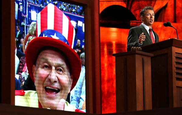 Sen. Rand Paul (R-Ky.) speaks during the third day of the Republican National Convention.
