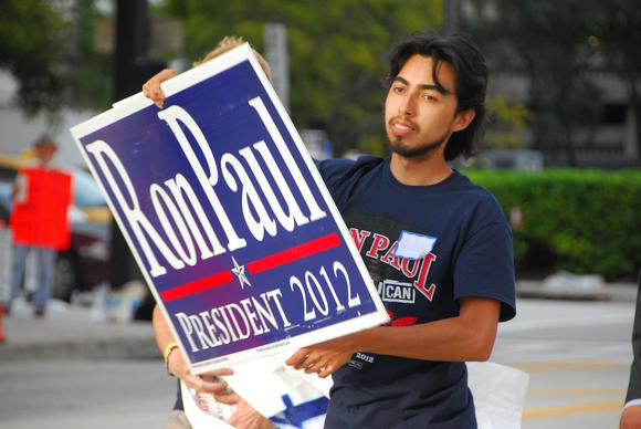 A Ron Paul supporter outside the Tampa Bay Times Forum on Aug. 29, 2012.