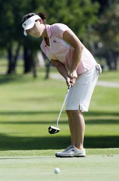 Crescenta Valley's Deborah Chin putts on the second green during practice at Brookside Golf Course in Pasadena.