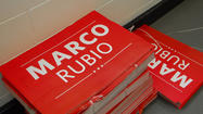 A Marco Rubio campaign sign in the corridors of the Tampa Bay Times Forum on Aug. 29, 2012. Rubio, a U.S. Senator, is running for reelection.