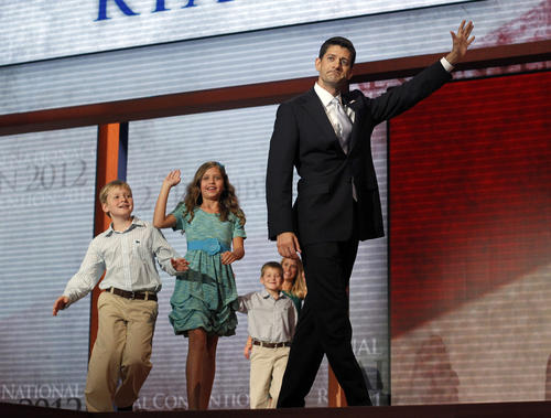 Republican vice presidential nominee Rep. Paul Ryan, R-Wis. with his wife Janna and children after speaking during the third day of the Republican National Convention at the Tampa Bay Times Forum in Tampa, Fla.