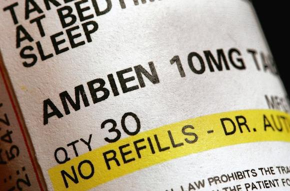 A prescription of bottle of Ambien