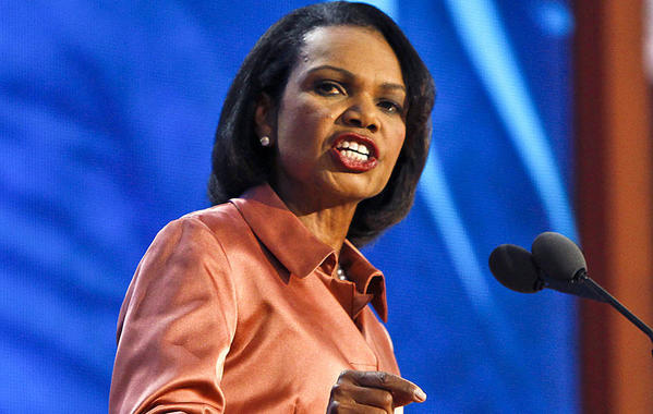 Former Secretary of State Condoleezza Rice speaks at the Republican National Convention.