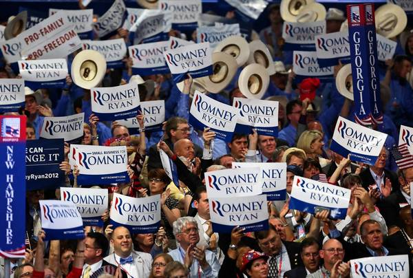 Delegates cheer Republican vice presidential nominee Paul D. Ryan.