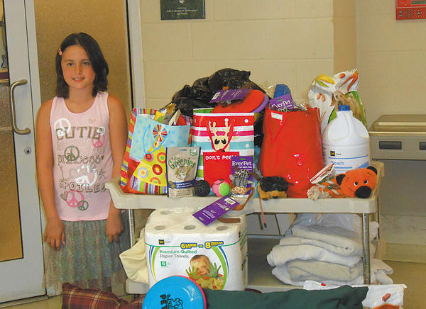 Hannah Chaney of Hagerstown asked donations for the Humane Society of Washington County for her 10th birthday instead of gifts for herself, and collected several animal-related items.
