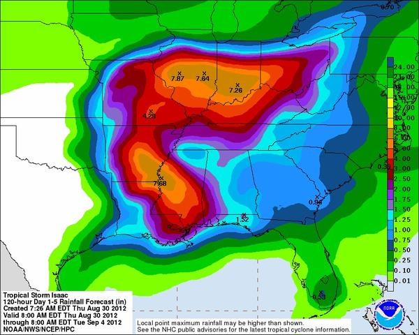 Remnants of Tropical Storm Isaac are expected to drop heavy rain across Indiana and Illinois, but not much in Maryland.