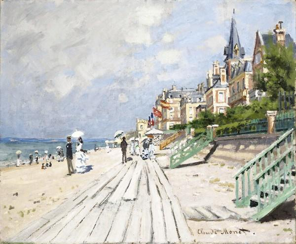 """At Wadsworth Atheneum Museum of Art, 600 Main St. in Hartford, """"Medieval to Monet: French Paintings in the Wadsworth Atheneum"""" runs Oct. 19 to Jan. 27, showcasing more than 75 objects from the museum's extensive collection of French art, including works by Toulouse-Lautrec, van Gogh, Gauguin, Corot, Courbet, Manet, Degas, Pissarro and Renoir. This is Monet's """"The Beach at Trouville, c. 1870."""" More information and exhibits coming this fall here."""