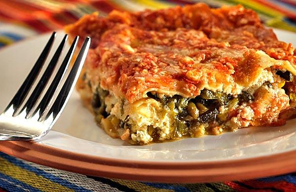 "Poblano chile strips and onions are the ""meat"" in Mexican lasagna."