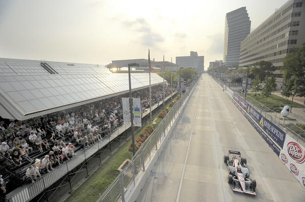 A race winner crosses the finish line at the Baltimore Grand Prix in 2011. Pleasant weather is expected for the Grand Prix of Baltimore 2012.