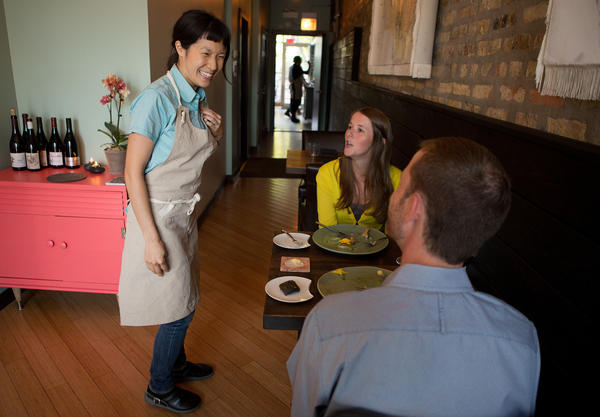 Chef Beverly Kim visits with diners at Bonsoiree
