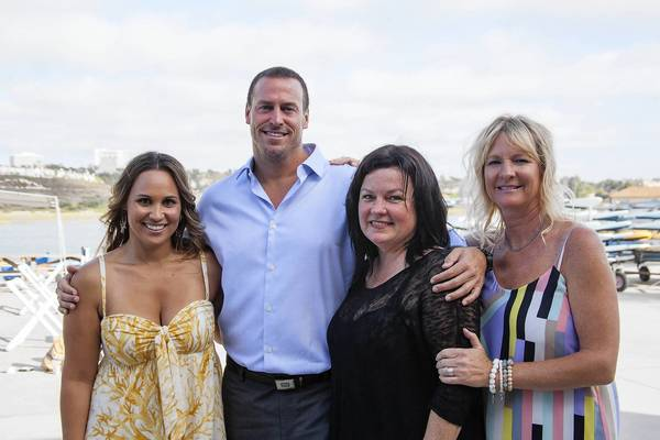 SUMMER SOIREE: Event chair Alewa Olotoa, Coach Robert Lynn, chairs Karen Ferraro and Marena Padden produce major summer benefit for Newport Beach Aquatics.