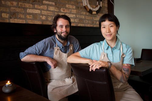 Husband-and-wife chef team Johnny Clark and Beverly Kim at Bonsoiree