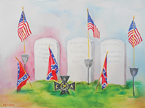 "Susan Coppage Parker's ""Final Retreat"" is part of ""Back Stories of the Civil War"" exhibit opening today at the Mansion House in Hagerstown's City Park. Searching for her own Civil War back story, Parker discovered that her late mother had a letter from Joseph Quaintance, one of the soldiers' graves she painted in Mercersburg, Pa."