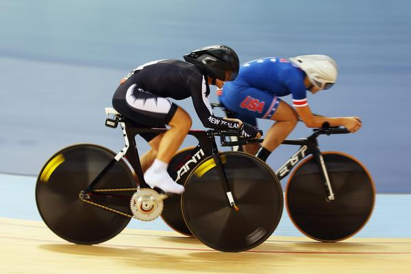 Fiona Southorn (left) of New Zealand competes against Greta Neimanas of the United States in the Women's Individual C5 Pursuit qualification round on Day 1 of the London 2012 Paralympic Games.