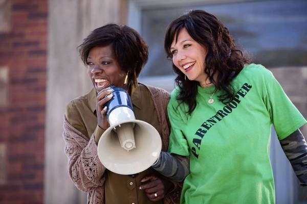 "Viola Davis, left, and Maggie Gyllenhaal star in ""Won't Back Down."""