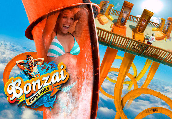 At Six Flags America outside Washington and Six Flags New England in Massachusetts, the Hurricane Harbor water parks will each add Bonzai Pipeline water slides with free-falling launch capsules.