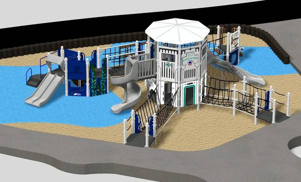 A rendering of the possible new Main Beach Park playground equipment.
