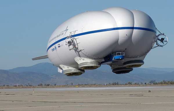 Lockheed Martin's P-791 Airship, a precursor to the company's new 290-foot airship called SkyTug, is shown in its first flight in Palmdale in January 2006.