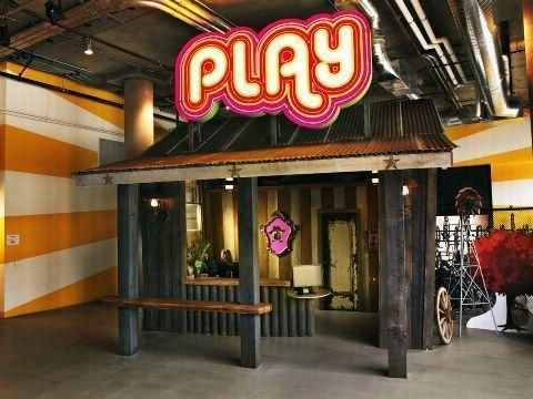Zynga's playful reception desk at its headquarters in San Francisco.